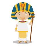Charakter von Ägypten kleidete auf die traditionelle Art als Pharao des alten Ägyptens an Stockbild