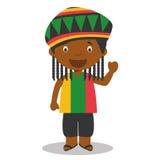 Charakter von Jamaika kleidete auf die traditionelle Art mit Dreadlocks an stock abbildung