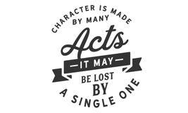Charakter wird durch viele Taten gemacht; er wird durch ein einzelnes verloren möglicherweise stock abbildung