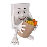 Charakter z świeżą żywnością Obrazy Royalty Free