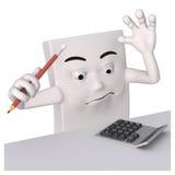 Charakter z ołówkiem i kalkulatorem Obraz Royalty Free