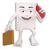 Charakter z teczką i telefonem komórkowym Zdjęcia Stock