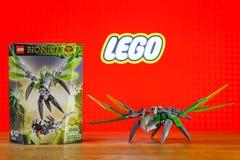 Charakter zabawki wszechświat Lego Bionicle, Uxar -, istota dżungla Fotografia Royalty Free