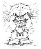 Charakterdesign-Bleistiftskizze der Katzen-schreiende Karikatur nette Lizenzfreie Stockfotos