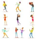 Charaktere der glücklichen Menschen, die Spaß an einer Geburtstagsfeier eingestellt vom bunten Charaktervektor feiern, tanzen und lizenzfreie abbildung