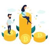Charaktere, die auf bitcoins sitzen und Geld erwerben lizenzfreie abbildung