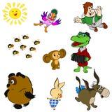 Charaktere von sowjetischen Karikaturen stock abbildung
