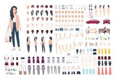 Charaktererbauer junger Dame Modischer Mädchenschaffungssatz Unterschiedliche Frau posiert, Frisur, Gesicht, Beine, Hände