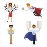 Charaktererfolgskarikaturenergiekonzept-Geschäftsmannes der SuperheldGeschäftsmann-Frauenvektorillustration starke Person des ges Lizenzfreies Stockbild