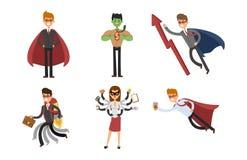 Charaktererfolgskarikaturenergiekonzept-Geschäftsmannes der SuperheldGeschäftsmann-Frauenvektorillustration starke Person des ges Stockfotos