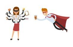 Charaktererfolgskarikaturenergiekonzept-Geschäftsmannes der SuperheldGeschäftsmann-Frauenvektorillustration starke Person des ges Lizenzfreie Stockfotografie