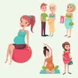 Charakterleben der schwangeren Frau des Schwangerschaftsmutterschaftsleuteerwartungskonzeptes glückliches mit Vektorillustration  Stockfotos
