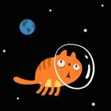 Charakteru Astronautyczny kot Obrazy Stock