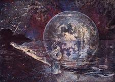 Charakteru atrakcyjni fantastyczni stojaki na dennym brzeg w prześwitującej sukni Przeciw tłu gwiazdowa księżyc przestrzeń unikal ilustracja wektor