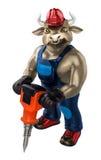 Charakteru bawoli ubraniowy pracownik trzyma młot Fotografia Stock