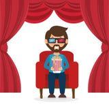 Charakteru mężczyzna obsiadania zegarka 3d film z wystrzał kukurudzą Obrazy Royalty Free