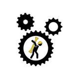 charakteru mężczyzna pracownika przekładnie z narzędziową ikoną i budowa Zdjęcie Royalty Free