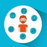 Charakteru mężczyzna technologii socjalny środki Fotografia Royalty Free