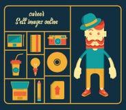 Charakteru mężczyzny kariery bubla fotografia online, narzędzia i ustawiamy wektor ilustracja wektor