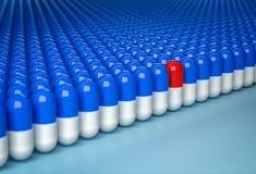 charakteru pojęcia tłumu pomarańcze jedyność target1185_1_ jedyność Czerwona kapsuła w rzędzie błękitne kapsuły royalty ilustracja