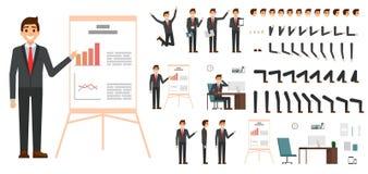 Charaktervektorsatz Männliches Geschäftsmanncharakterdesign im flachen Design lokalisiert Gefühle, Gesicht, Bein und Arme und and Lizenzfreie Stockbilder