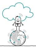 Charaktery i chmura - świat royalty ilustracja