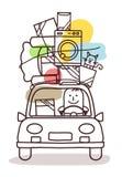 Charaktery i samochód - ruch ilustracja wektor
