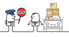 Charaktery - milicyjna kontrola - paczki ilustracja wektor