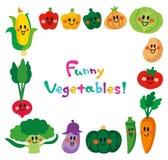 Charaktery uśmiechać się ślicznych warzywa Rama ilustracja wektor