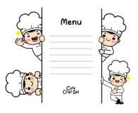 Charaktery ustawiający w szefa kuchni mundurze Vecter royalty ilustracja