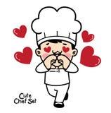Charaktery ustawiający w szefa kuchni mundurze Vecter element royalty ilustracja