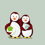 Charater of two penguine in happy mood. Stock Photography