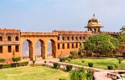 Charbagh Garden of Jaigarh Fort in Jaipur - Rajasthan, India. Charbagh Garden of Jaigarh Fort in Amer - Jaipur, Rajasthan State of India stock photography