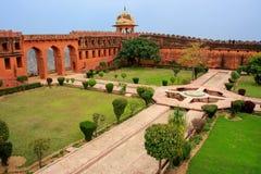 Charbagh-Garten in Jaigarh-Fort nahe Jaipur, Rajasthan, Indien Stockbild