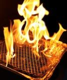 Charbon brûlant en incendie de gril Image stock