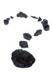 Charbon d'isolement, pépites de carbone - point d'interrogation Image stock