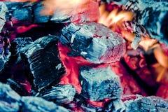 Charbon de bois brûlant Photographie stock libre de droits