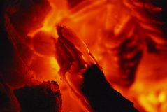 Charbon de bois d'incendie de fève Image libre de droits