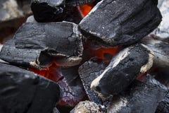 Charbon de bois d'un rouge ardent photos libres de droits