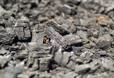 Charbon de bois en bois brûlé Image libre de droits