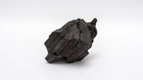 Charbon de bois sur le fond blanc Photo libre de droits