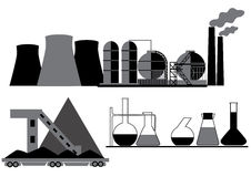 Charbon, produit chimique, industrie pétrolière Photographie stock