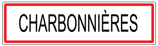 Charbonnieres city traffic sign illustration in France Stock Photo