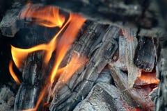 Charbons brûlants dans le feu photographie stock libre de droits
