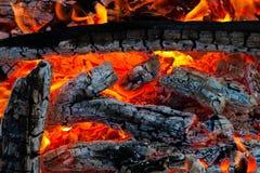 Charbons brûlants sur un gril Image stock