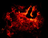 Charbons brûlants rouges photos libres de droits