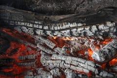 Charbons rouge-oranges lumineux de la chaleur d'une fin brûlée d'arbre, fond photo stock