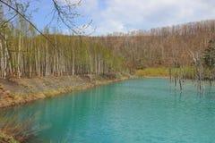 Charca azul Aoiike, Biei Hokkaido Japón Imagenes de archivo