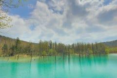 Charca azul Aoiike, Biei Hokkaido Japón Fotos de archivo