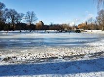 Charca congelada con algunas personas scating en el campo común de Boston Imagenes de archivo
